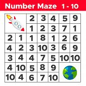 Number Maze, Math Puzzle Game For Children. Help The Rocket Find Way To The Earth. Counting From One poster