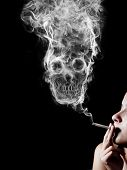 Постер, плакат: woman smoking a cigarette Of smoke formed skull dead as a symbol of the dangers of smoking to hea