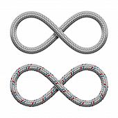 Infinity Sign Made Of Hydraulic Hose Or Braided Armored Cable. Limitless Strip Symbol . Vector Reali poster
