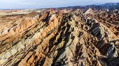 Top View Of Rainbow Mountains Geological Park. Drone Photo Stripy Zhangye Danxia Landform Geological poster