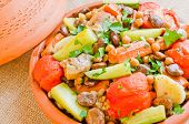 foto of tagine  - Moroccan Seven Vegetables tagine with chicken - JPG