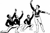 picture of lap dancing  - sketch male ballet dancers sitting in a pose around the soloist - JPG