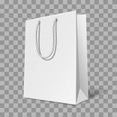 Mockup Of Bag. White Paper Gift Bagful Or Bagged For Shopping And Takeaway Vector Isolated Template poster
