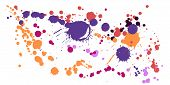 Gouache Paint Stains Grunge Background Vector. Messy Ink Splatter, Spray Blots, Dirt Spot Elements,  poster
