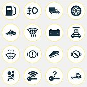 Automobile Icons Set With Signal, Battery, Washer Fluid And Other Accumulator Elements. Isolated Vec poster
