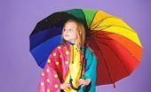 Kid Girl Happy Hold Colorful Umbrella Wear Waterproof Cloak. Waterproof Accessories For Children. En poster