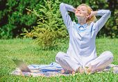 Clear Your Mind. Girl Meditate On Rug Green Grass Meadow Nature Background. Find Minute To Relax. Wo poster