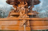stock photo of waterspout  - Part of the Hubert Fountain showing the Gods and Goddesses over a grotesque waterspout - JPG