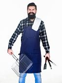 Man Hold Cooking Utensils Barbecue. Tools For Roasting Meat Outdoors. Picnic And Barbecue. Tips For  poster