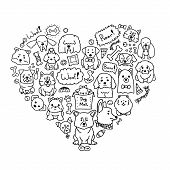 Vector Image Of Love Dogs With Different Doodle Dogs In Heart Shape. Cute Doodle Illustration Of Cur poster