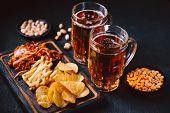 Beer And Snacks. Bar Table. Restaurant, Pub, Oktoberfest Food. Craft Lager Drink, Chips, Pork Ears,  poster