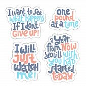Sticker Set Design Template With Hand Drawn Vector Lettering. Unique Motivational Phrases About Work poster