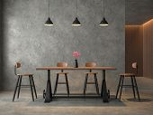 Loft Style Dining Room With Polished Cocrete 3d Render,furnished With Industrial Style Wood And Meta poster