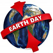 Earth Day Is A Celebration Of The Planet Earth. Red Arrows Emphasize The White Text Earth Day On The poster