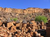picture of dogon  - The Dogon people build large cities of mud on the side of mouontains in the Bondiagara Escarpment of Mali - JPG