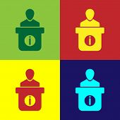 Color Information Desk Icon Isolated On Color Backgrounds. Man Silhouette Standing At Information De poster