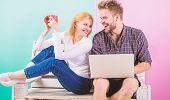 Modern Young People Leisure Internet Surfing. Surfing Web Together. Couple Cheerful Spend Leisure Wi poster