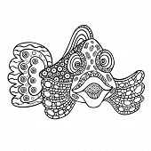 Isolated Pictures Of Underwater Creature. Fish In Full Face. Decorative Illustration Of A Fish For C poster