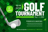 Template For Your Golf Tournament Invitation With Sample Text In Separate Layer - Vector Illustratio poster