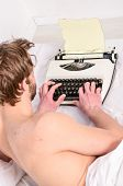 Writer Use Manual Typewriter Daily Work. Man Writer Lay Bed Working On New Book. Writer Author Used  poster