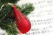 pic of christmas song  - christmas ornament and sheet music - JPG