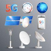 Modern Mobile Internet Technology Transparent Set Of Isolated Elements Promoting Signal Transmission poster