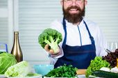 Organic Vegetables. I Choose Only Healthy Ingredients. Man Cook Hat And Apron Hold Broccoli. Healthy poster