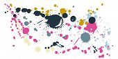 Paint Stains Grunge Background Vector. Graphic Ink Splatter, Spray Blots, Mud Spot Elements, Wall Gr poster