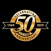 50th Anniversary. Gold 3d Numbers. Poster Template For Celebrating 50th Anniversary Event Party. Vec poster