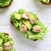 Close Up Of Tuna Sandwiches With Avocado And Lettuce Leaves. Tasty Tuna Sandwiches For Breakfast. He poster