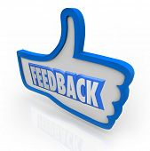 The word Feedback in a blue thumbs up indicating positive comments and opinions from customers and o