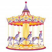 image of carousel horse  - Colorful carousel with little horses - JPG