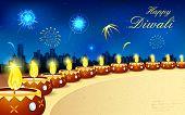 image of ganpati  - illustration of burning decorated diya in Diwali night - JPG