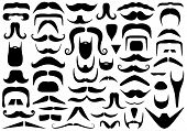 picture of goatee  - Set of different mustaches isolated on white - JPG