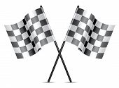 stock photo of dragster  - vector checkered racing flags icon isolated on white - JPG