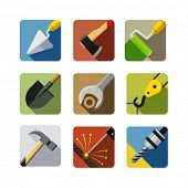Bauwerkzeuge. Satz von Vektor-Icons. Vektor-Illustration, isolated on white Background EPS10. Tra
