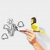 Постер, плакат: Попугай в пилотных шляпа