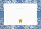 Certificate / Diploma template with floral pattern