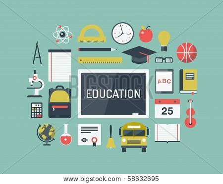 Education Items Flat Icons Set poster