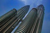 stock photo of petronas towers  - Petronas Twin Towers in Kuala Lumpur Malaysia - JPG