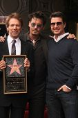 Jerry Bruckheimer, Johnny Depp and Tom Cruise at the Jerry Bruckheimer Star on the Hollywood Walk of