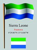 foto of freetown  - sierra leone wavy flag and coordinates against gray background vector art illustration image contains transparency - JPG