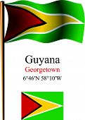 Guyana Wavy Flag And Coordinates