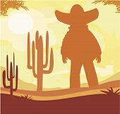 Man In A Sombrero And Cactus Plants In Desert Sunset