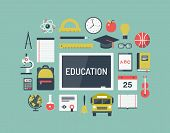 Education Items Flat Icons Set