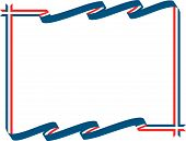 picture of scrollwork  - Red white and blue ribbon banner for political campaign or patriotic theme frame for Veterans or Labor Day or Fourth of July Independence Day - JPG