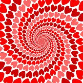 Design Red Heart Whirl Movement Background. Valentines Day Card