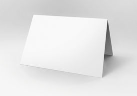 foto of pamphlet  - Close up of a blank folded card on white background - JPG