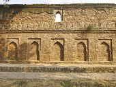 picture of pubic  - decoration by arch in old stone castle in pubic park at Vasant Lok Newdelhi India - JPG