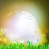 stock photo of land-mass  - Abstract background of globe with grass vector illustration - JPG